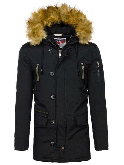 Čierna pánska zimná bunda parka BOLF 1795