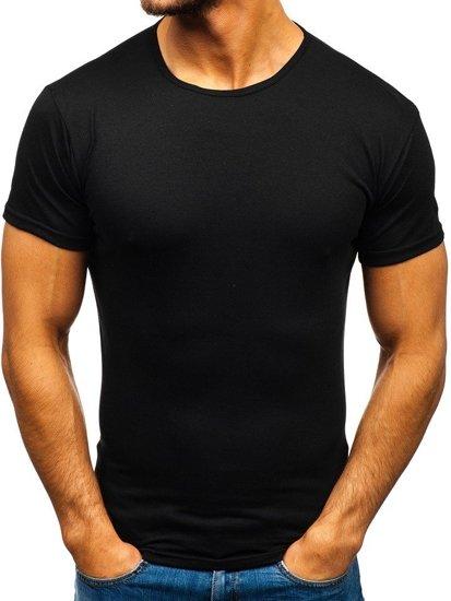 Čierne pánske tričko bez potlače Bolf 0001