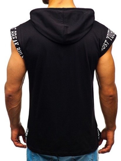 Čierne pánske tričko s potlačou a kapucňou Bolf 19100