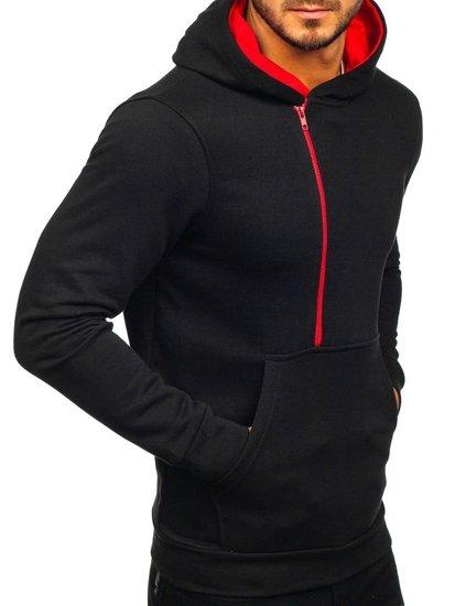 Čierno-červená pánska mikina s kapucňou a potlačou Bolf 01