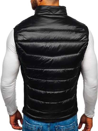 Čierno-zelená pánska prešívaná vesta BOLF K002
