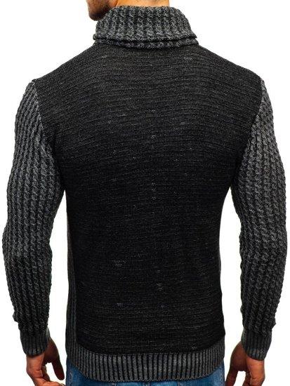 Čierny pánsky vzorovaný sveter BOLF 2010