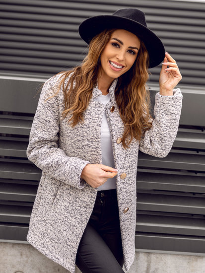 Ecru dámsky kabát BOLF 6011-1