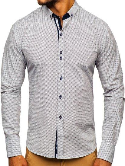 Ecru pánska vzorovaná košeľa s dlhými rukávmi Bolf 9710