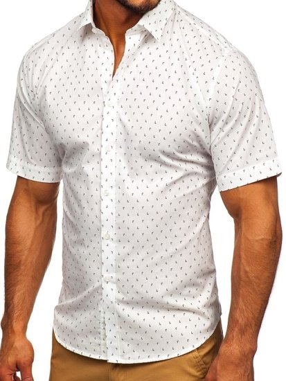 Farebná pánska vzorovaná košeľa s krátkymi rukávmi Bolf TSK101