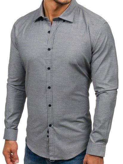 Grafitová pánska elegantná košeľa s dlhými rukávmi BOLF 9666