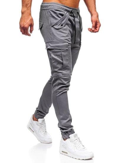 Grafitové pánske kapsáčové joggery Bolf 1005