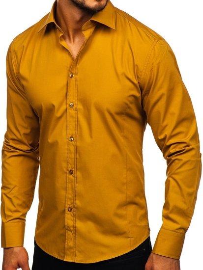 Kamelová pánska elegantná košeľa s dlhými rukávmi BOLF 1703