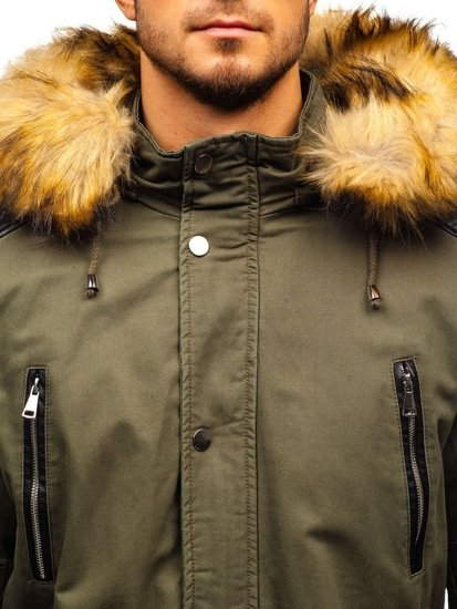 Khaki pánska zimná bunda parka BOLF 88830