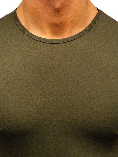 Khaki pánske tričko bez potlače BOLF 0001