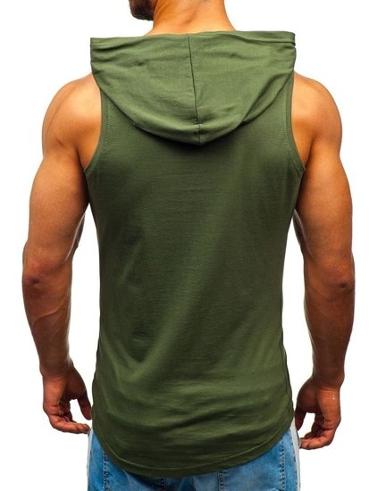 Khaki pánske tričko bez rukávov s potlačou a kapucňou BOLF 1286