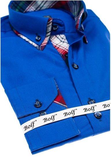 Kráľovsky modrá pánska elegantná košeľa s dlhými rukávmi BOLF 4704