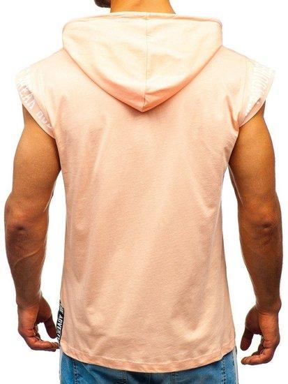Lososové pánske tričko s potlačou a kapucňou Bolf 19100