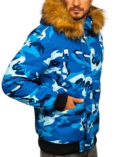 Modrá maskáčová pánska zimná bunda Bolf 2019M