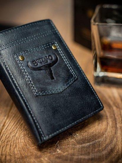 Modrá pánska kožená  peňaženka 1646