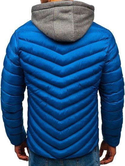 Modrá pánska športová prechodná bunda s kapucňou BOLF SM08