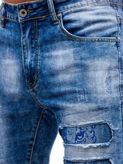 Modré pánske riflové kraťasy BOLF T577