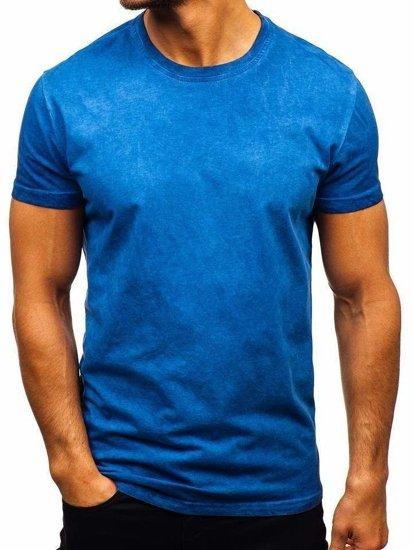 Modré pánske tričko bez potlače BOLF 100728