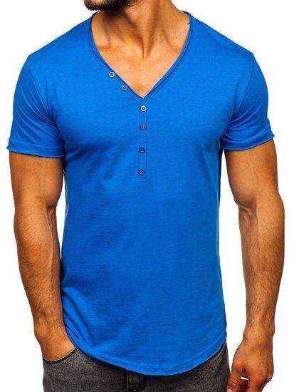 Modré pánske tričko bez potlače Bolf 4049