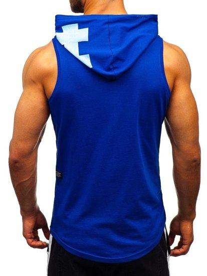 Modré pánske tričko bez rukávov s potlačou a kapucňou BOLF 1285