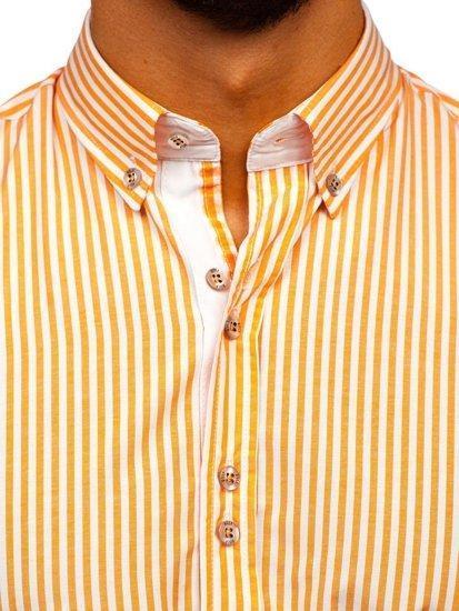 Oaranžová pánska prúžkovaná košeľa s dlhými rukávmi Bolf 9711