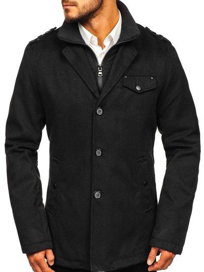 Pánsky čierny jednoradový kabát s vysokým golierom Bolf 8853