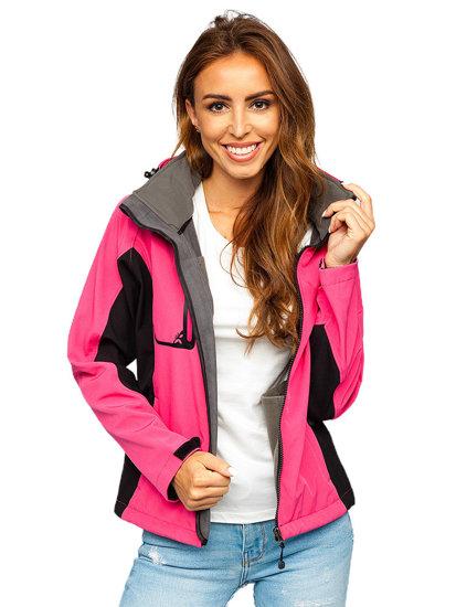 Ružová dámska softshellová prechodná bunda BOLF 3077