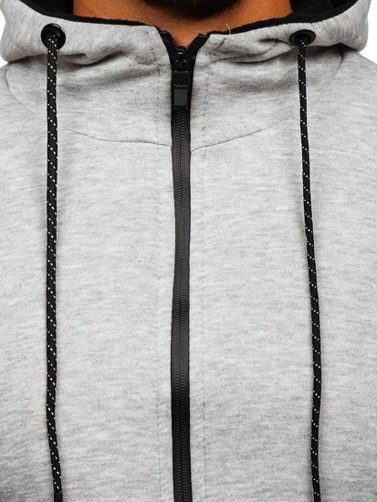 Šedá pánska mikina na zips s kapucňou Bolf DD02