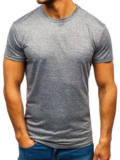 Šedé pánske tričko bez potlače BOLF S01
