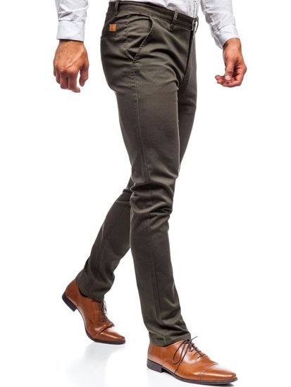 Khaki pánske nohavice chinos Bolf KA969