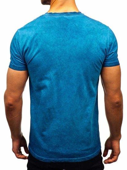 Svetlomodré pánske tričko bez potlače BOLF 100728