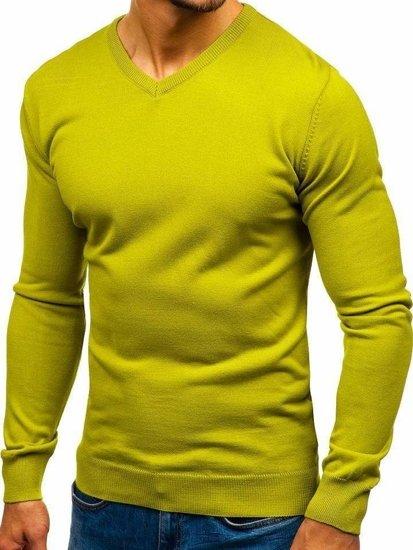 Svetlozelený pánsky sveter s výstrihom do V BOLF 2200