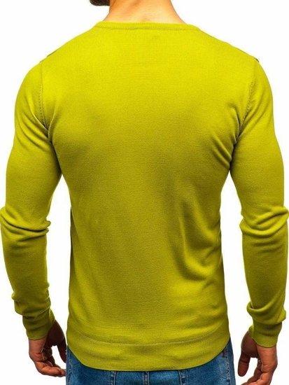 Svetlozelený pánsky sveter s výstrihom do V Bolf2200
