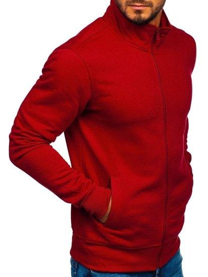 Bordová pánska mikina na zips bez kapucne Bolf B002