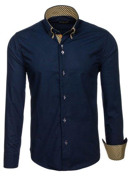 Tmavomodrá pánska elegantá košeľa s dlhými rukávmi BOLF 4708