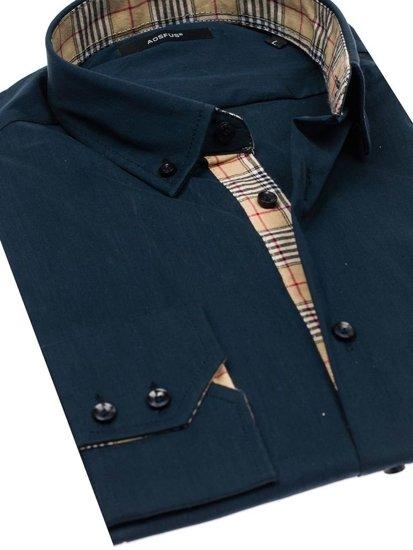 Tmavomodrá pánska elegantá košeľa s dlhými rukávmi BOLF 7197
