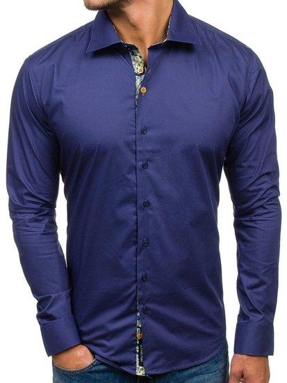 Tmavomodrá pánska elegantná košeľa s dlhými rukávmi 9983