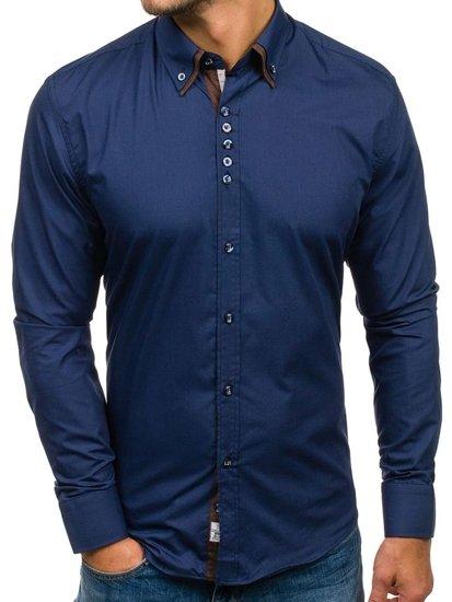 Tmavomodrá pánska elegantná košeľa s dlhými rukávmi BOLF 4706