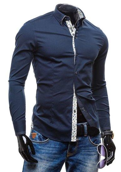 Tmavomodrá pánska elegantná košeľa s dlhými rukávmi BOLF 7180