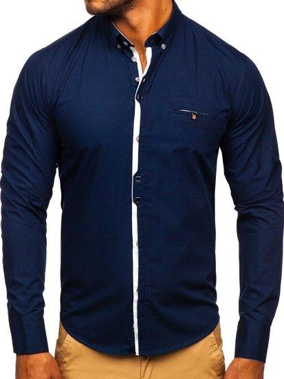 Tmavomodrá pánska elegantná košeľa s dlhými rukávmi Bolf  Bolf 7720
