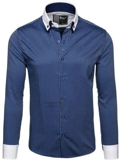 Tmavomodrá pánska elegantná pruhovaná košeľa s dlhými rukávmi BOLF 0909