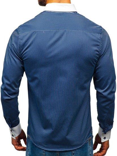 Tmavomodrá pánska elegantná prúžkovaná košeľa s dlhými rukávmi BOLF 0909-A