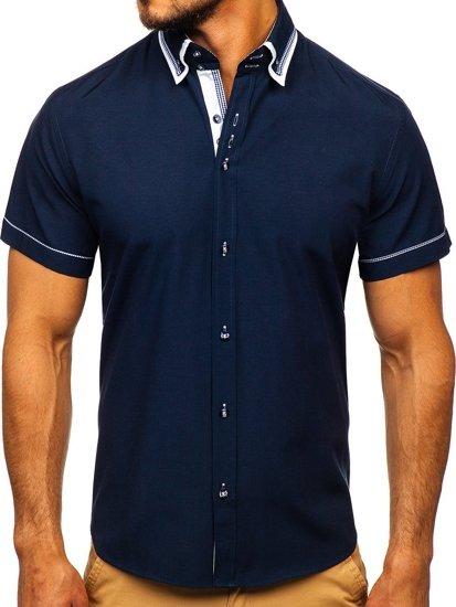 Tmavomodrá pánska košeľa s krátkymi rukávmi Bolf 3520