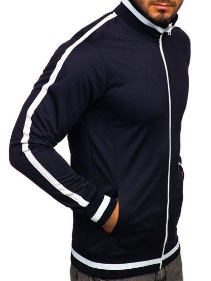 Tmavomodrá pánska mikina na zips bez kapucne retro style Bolf 2126