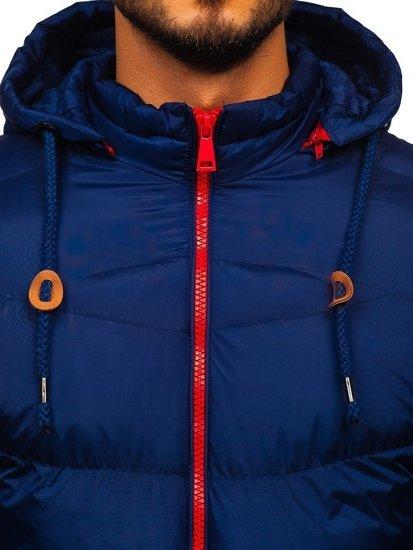 Tmavomodrá pánska prešívaná športová zimná bunda Bolf   50A156