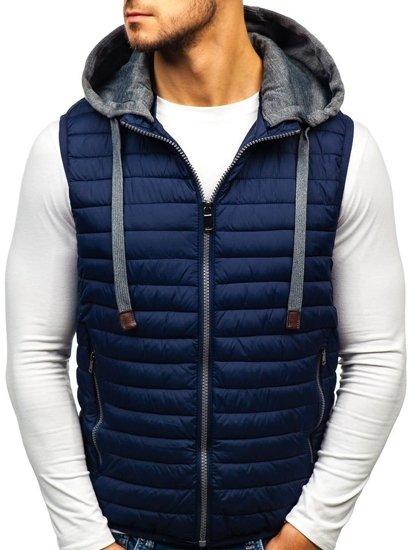 Tmavomodrá pánska prešívaná vesta s kapucňou BOLF 1252 4058199c4f5