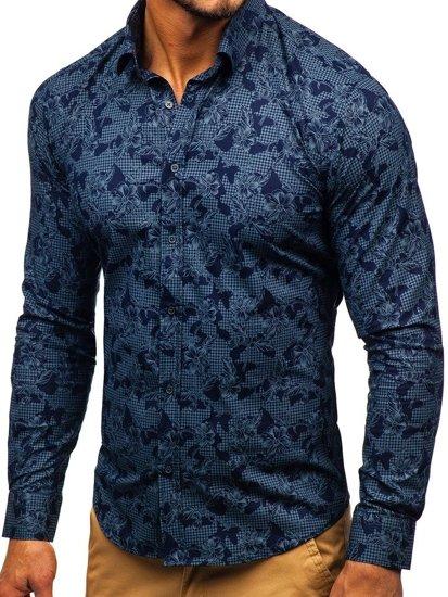 Tmavomodrá pánska vzorovaná košeľa s dlhými rukávmi BOLF 200G64