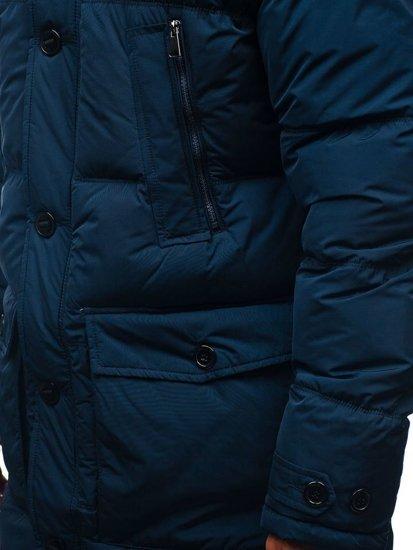 Tmavomodrá pánska zimná bunda parka BOLF R110