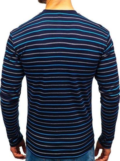 Tmavomodré pánske prúžkované tričko s dlhými rukávmi BOLF 1519-1