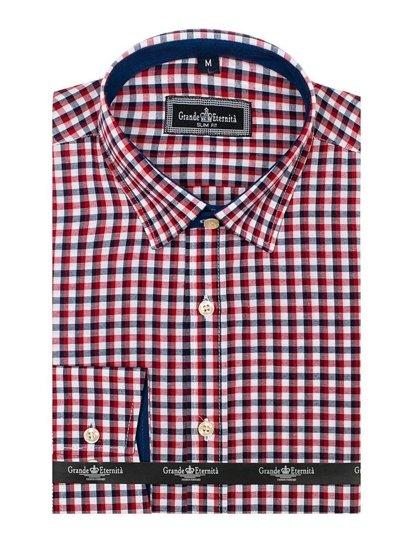 Tmavomodro-červená pánska károvaná košeľa s dlhými rukávmi BOLF GET10